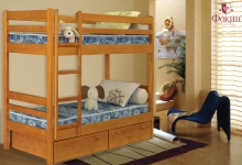 кровать из дуба двухъярусная «Детская № 1» (с ящиками)