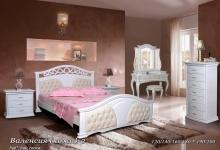 кровать из сосны Валенсия (кожа) - 2 спинки