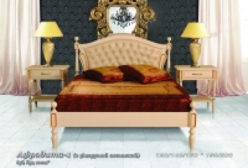 """кровать из бука """"Афродита (фигурная вставка, кожа) - 1 спинка"""""""