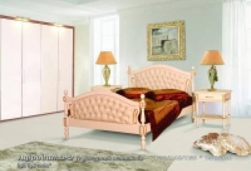 """кровать из бука """"Афродита (фигурная вставка, кожа) - 2 спинки"""""""