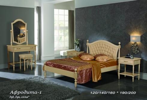 """кровать из бука """"Афродита (кожа) - 1 спинка"""""""
