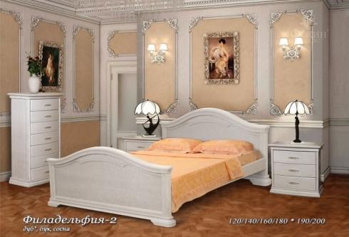"""кровать из дуба """"Филадельфия - 2 спинки"""""""