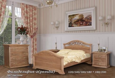 """кровать из дуба """"Филадельфия (резьба) - 1, 2 спинки"""""""