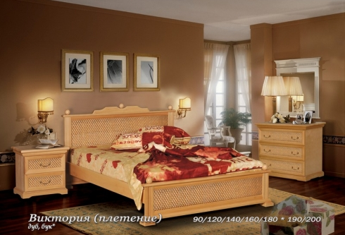 """кровать из дуба """"Виктория (плетение) - 1 спинка"""""""