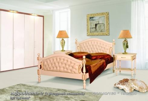 Кровать из сосны Афродита (фигурная вставка, кожа) - 2 спинки