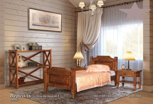 Кровать из сосны Версаль (стиль шале) - 2 спинки