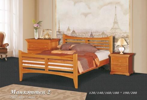 """кровать из дуба """"Манхэттен - 2 спинки"""""""