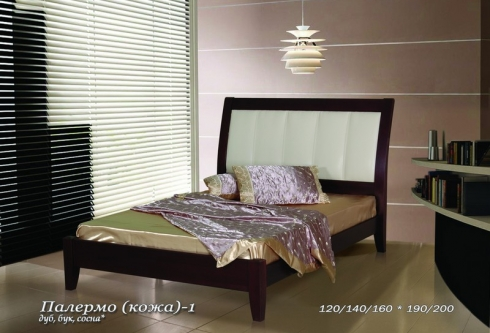 """кровать из дуба """"Палермо (кожа) - 1 спинка"""""""