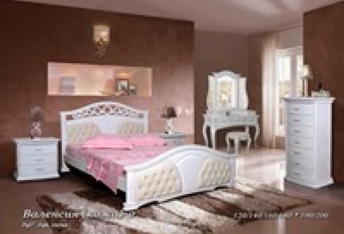 """кровать из бука """"Валенсия (кожа) - 2 спинки"""""""