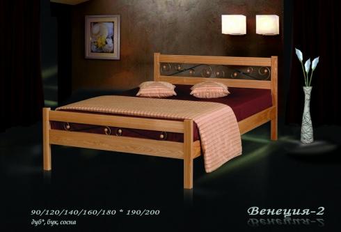 """кровать из дуба """"Венеция - 2 спинки"""""""