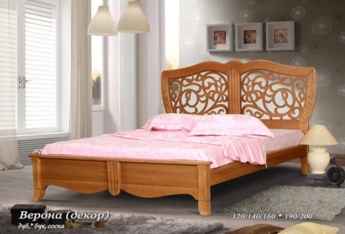"""кровать из дуба """"Верона (декор) - 1 спинка"""""""